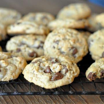 cookies on a black rack
