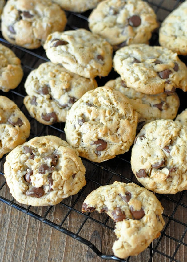 Oatmeal Chocolate Chip Cookies on a black rack