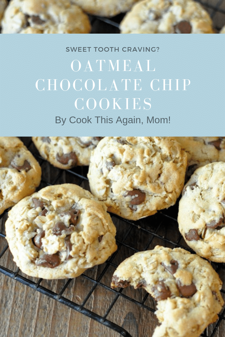 pinterest image for oatmeal chocolate chip cookies