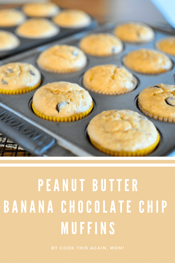 peanut butter banana chocolate chip muffins pinterest image