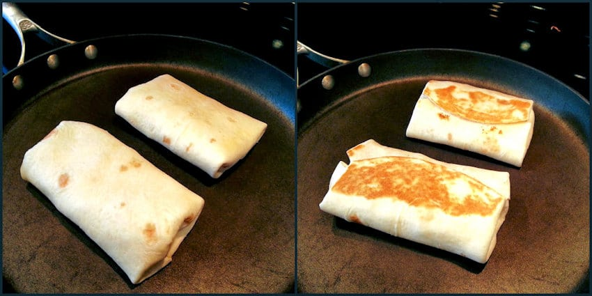 Strawberry Burritos, browning on each side