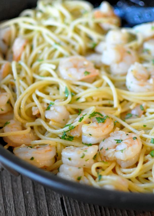 Lemon Fennel Shrimp with Spaghetti
