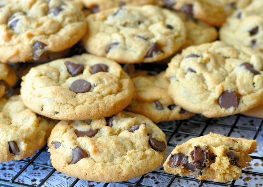 Possibly the Best Chocolate Chip Cookies  stacked on a wire rack