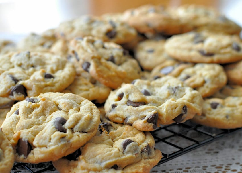 close up picture of a couple dozen chocolate chip cookies on a wire rack