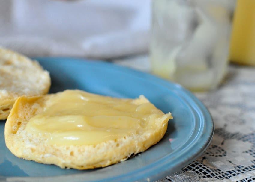 Lemon Curd on a biscuit