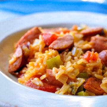a bowl full of sausage jambalaya