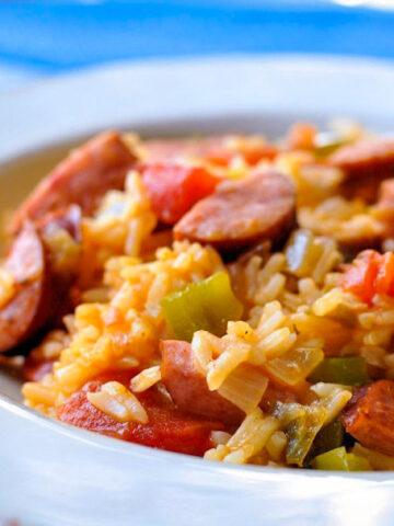 a bowl full of sausage jambalaya