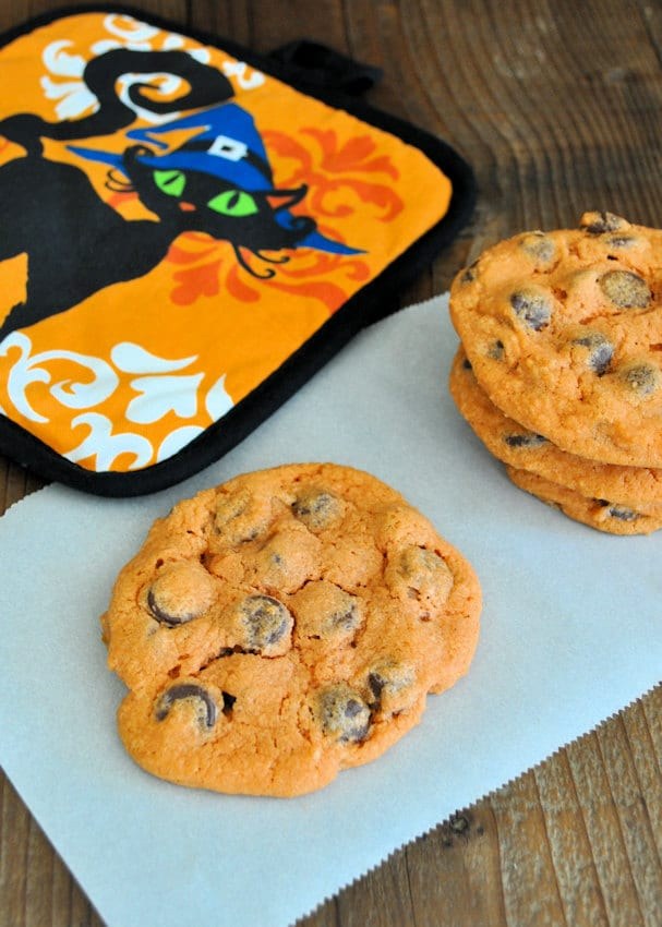 Trick or Treat Chocolate Chip Cookies that are colored orange