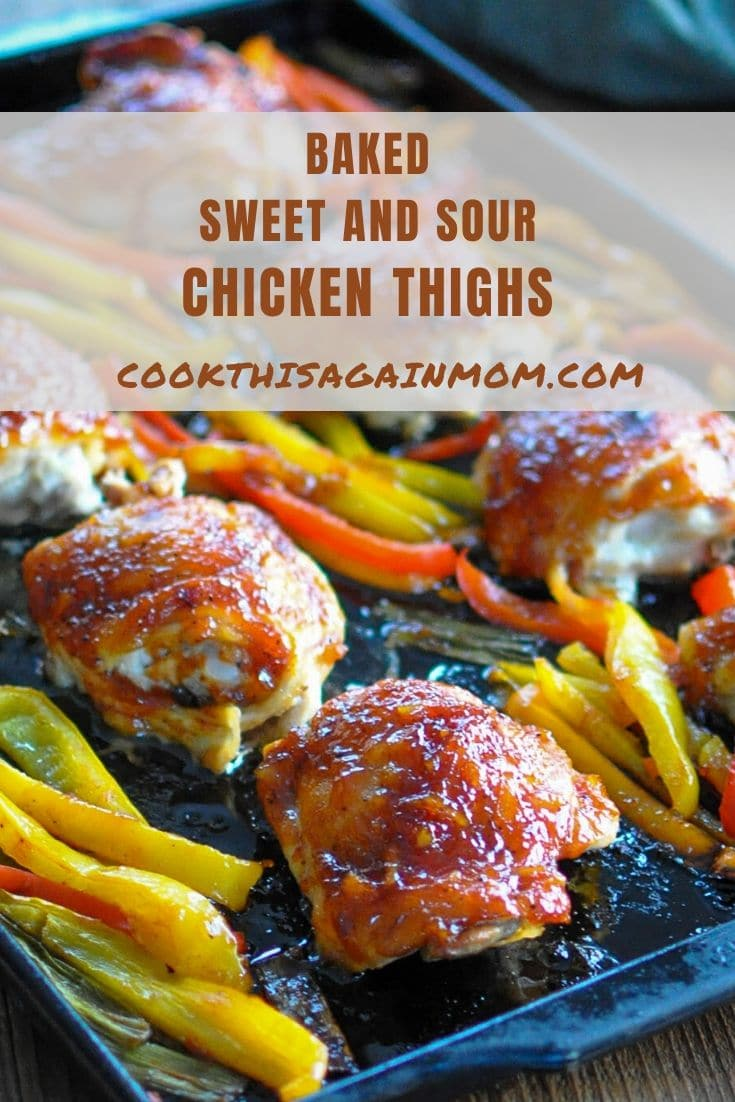 baked chicken thighs on baking sheet pinterest graphic