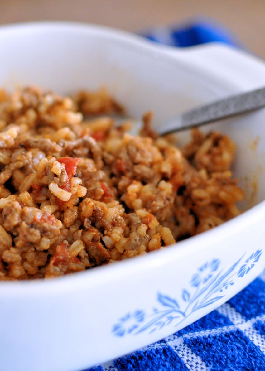 Creole Hamburger and Rice in a white casserole bowl