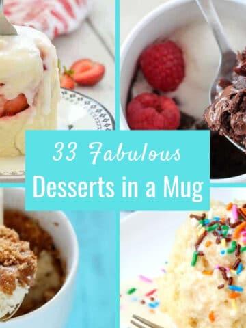 33 desserts in a mug collage for pinterest