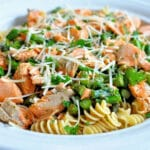 salmon crumbled with pasta and asparagus in a white bowl