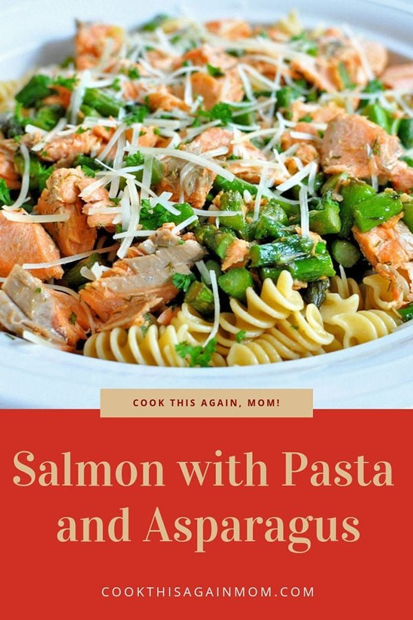 pinterest image for pasta with salmon and asparagus