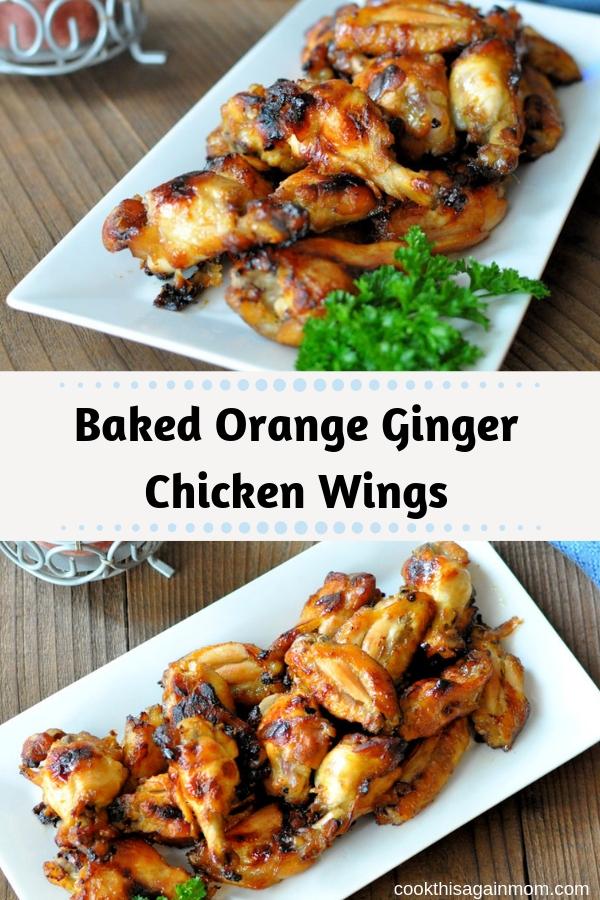 pinterest image for baked orange ginger chicken wings