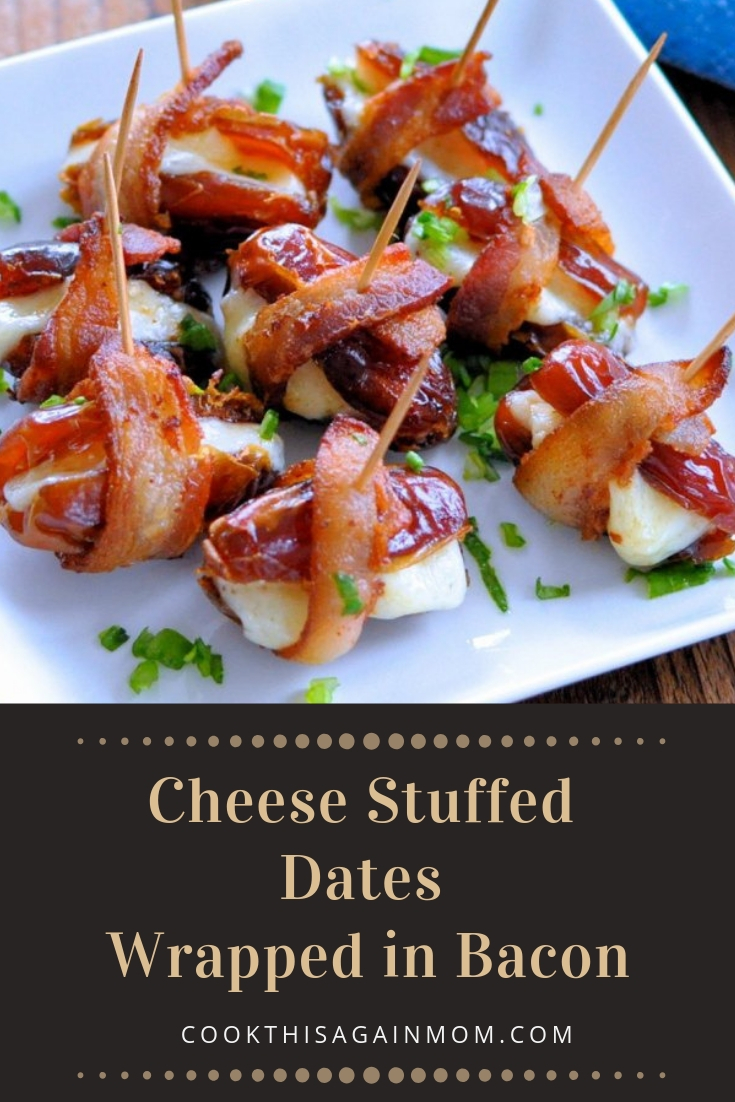 cheese stuffed dates in bacon pinterest image