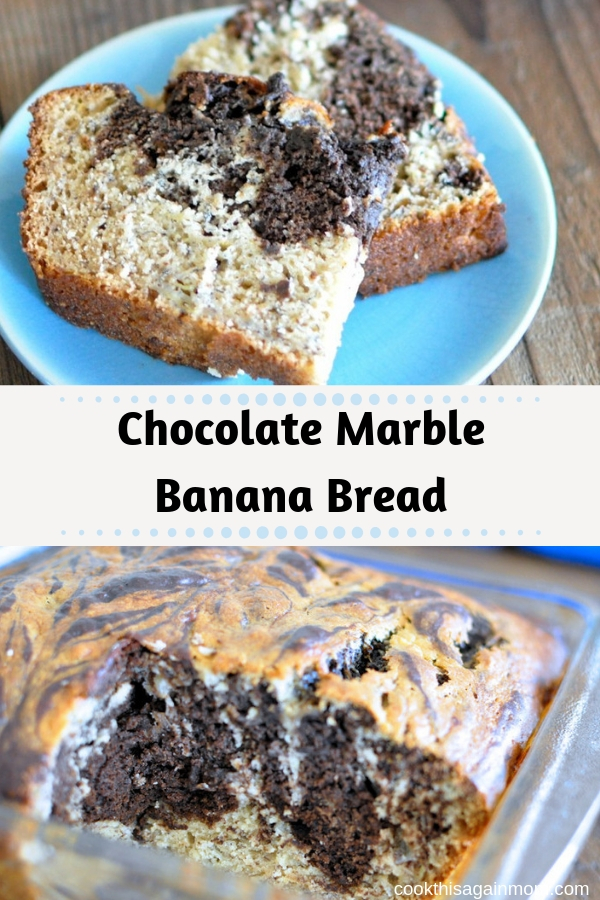 pinterest image for chocolate marble banana bread