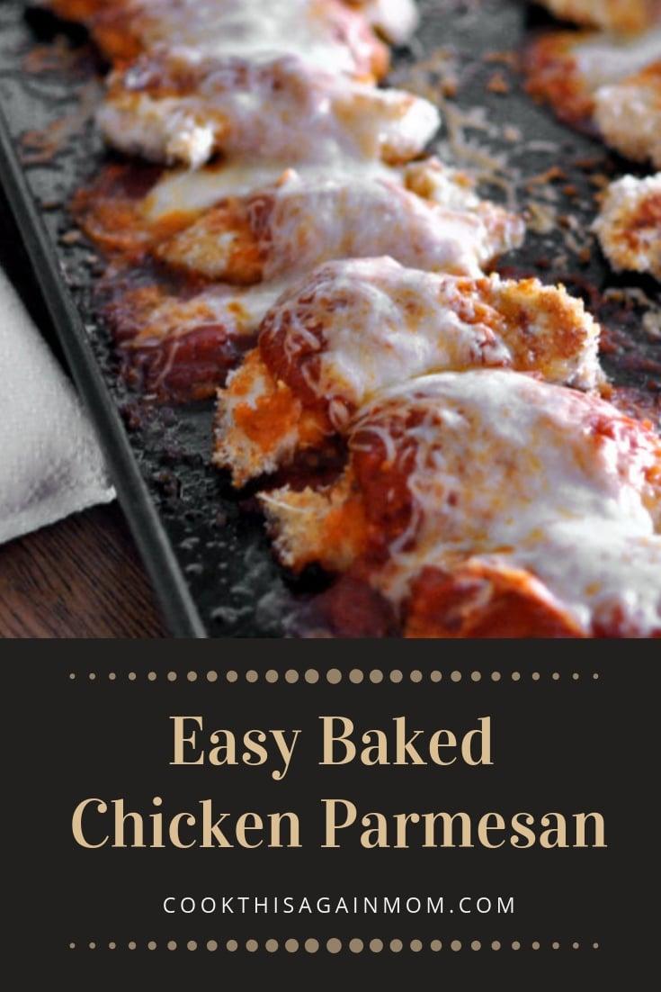 pinterest image for baked chicken parmesan