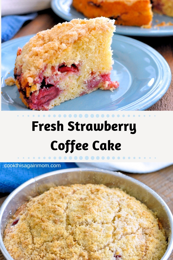 Pinterest image for strawberry coffee cake