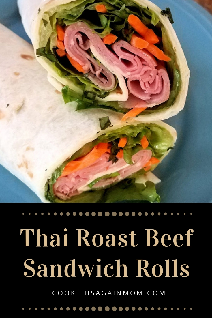 pinterest image for thai roast beef sandwich rolls