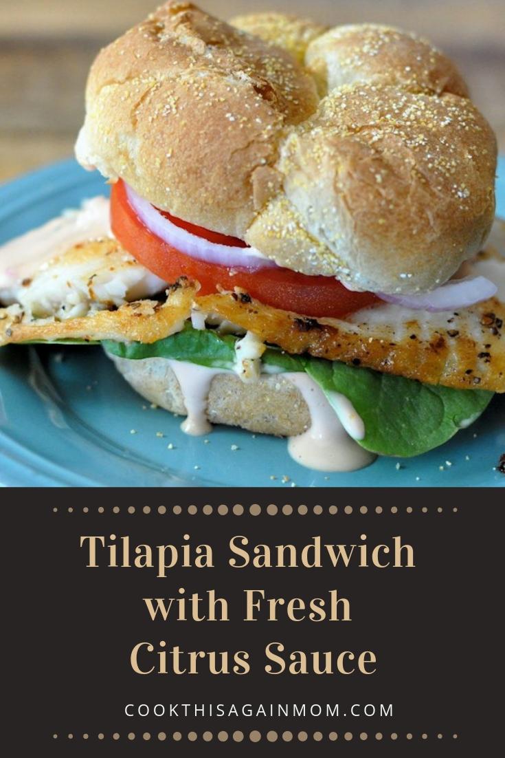 pinterest image for tilapia sandwich