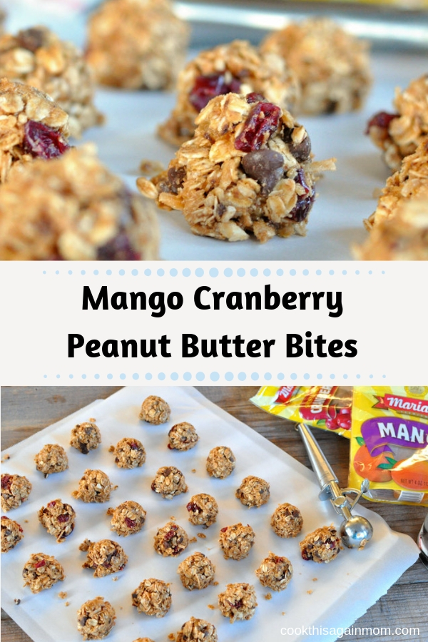 These no bake, Mango Cranberry Peanut Butter Bites are a perfect snack to keep in the refrigerator for the kids and the entire family!