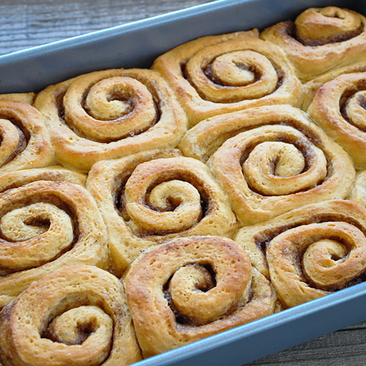 just baked sticky rolls still in the baking pan