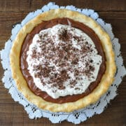 chocolate pie made with tofu and topped with whipped cream