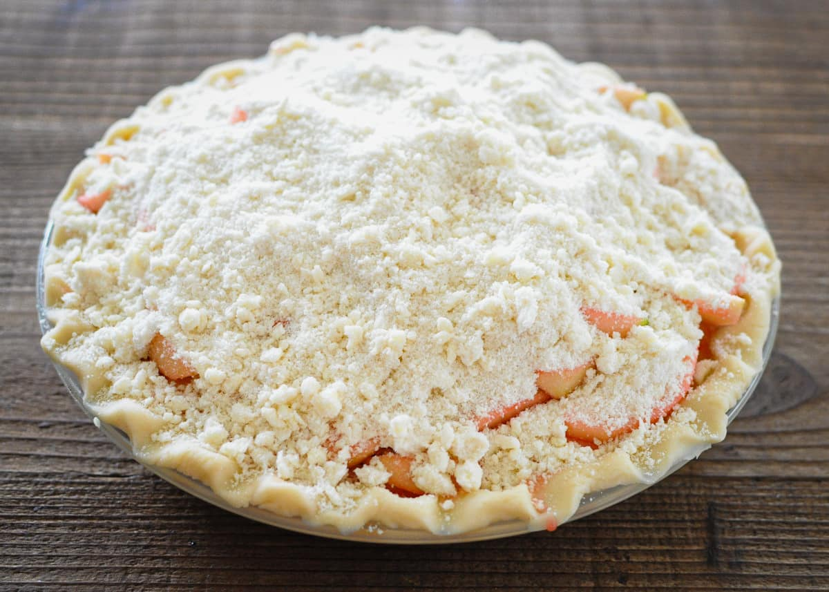 pie with a crumb topping before baking