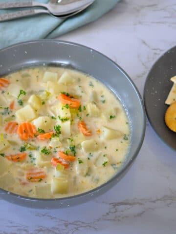 potato soup in a gray bowl