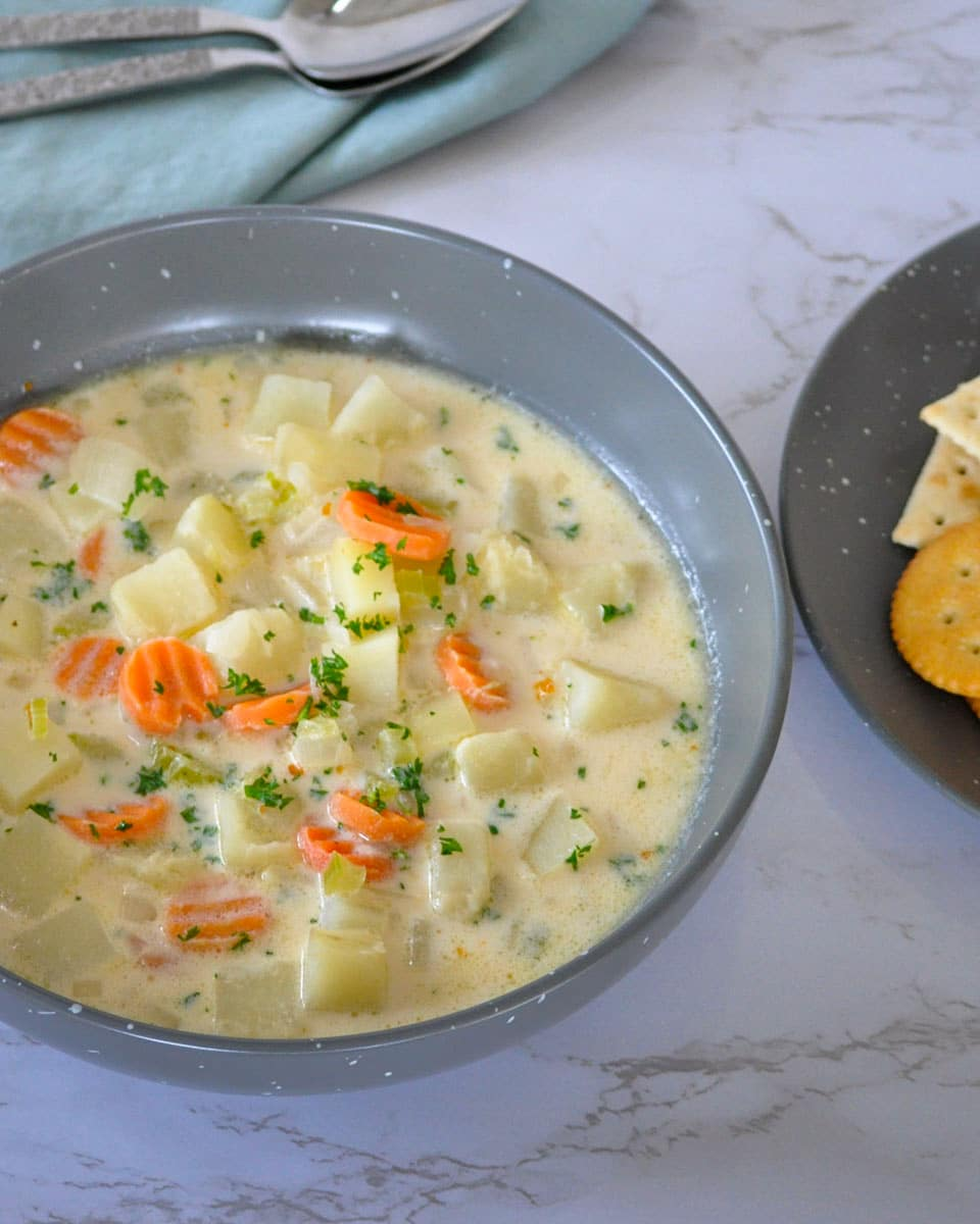 portrait image of soup with potatoes, carrots, celery and onion
