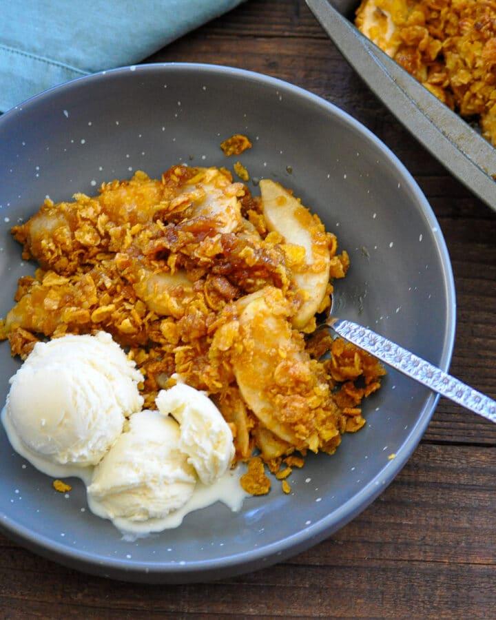 apple crisp dessert in a gray bowl served with vanilla ice cream
