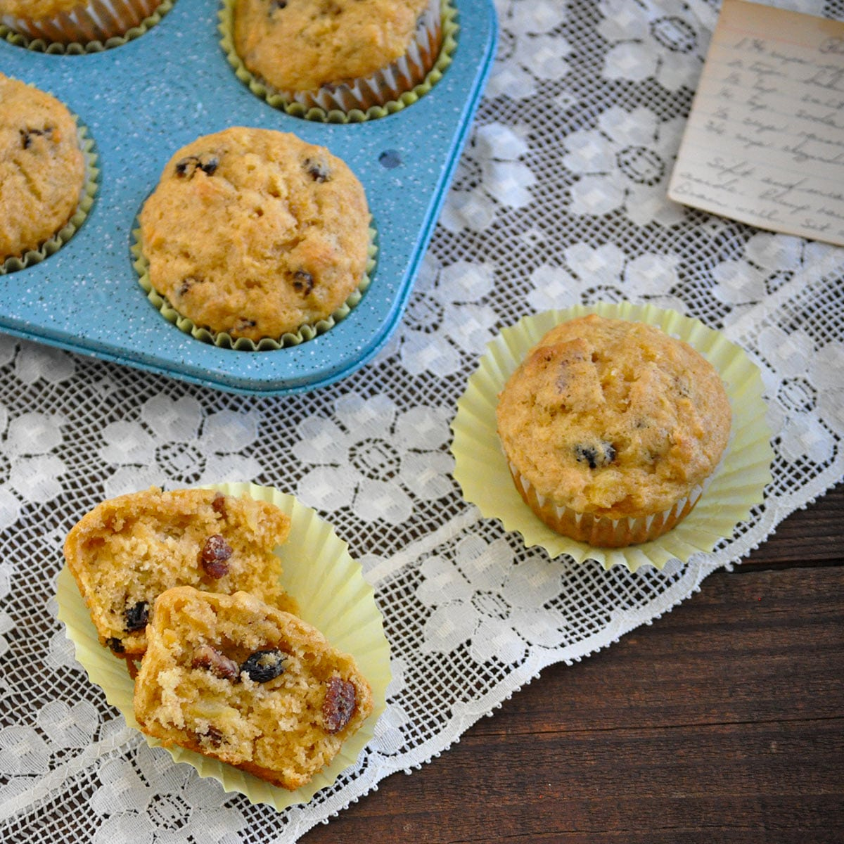 pineapple pecan muffins on a lace doilie