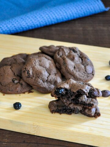 stack of blueberry chocolate chip cookies