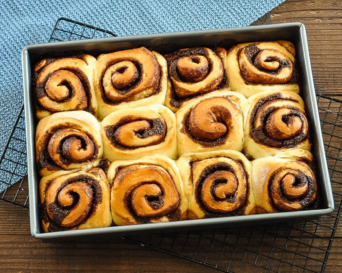 just baked cocoa cinnamon rolls without the glaze