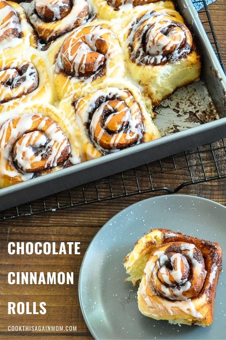 pinterest image for chocolate cinnamon rolls