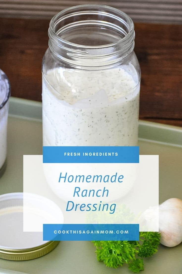 a mason jar filled with homemade ranch dressing