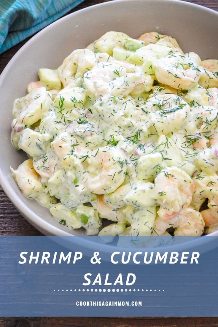 Pinterest image featuring shrimp and cucumber salad in a gray bowl