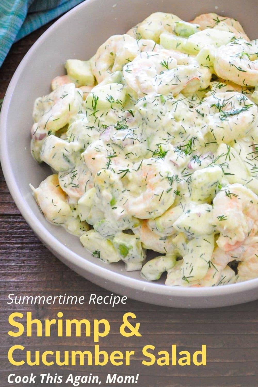 pinterest image graphic for shrimp salad