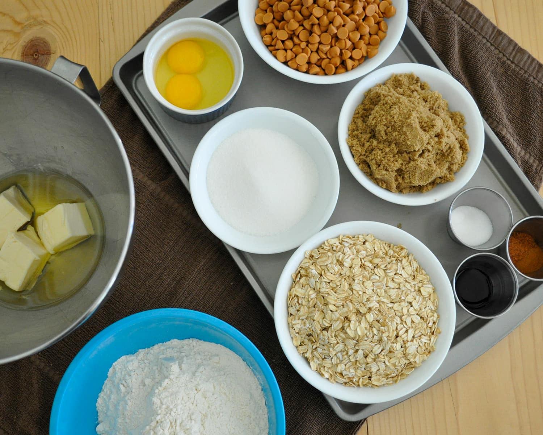 measure out oil, butter, eggs, sugar, flour, spices