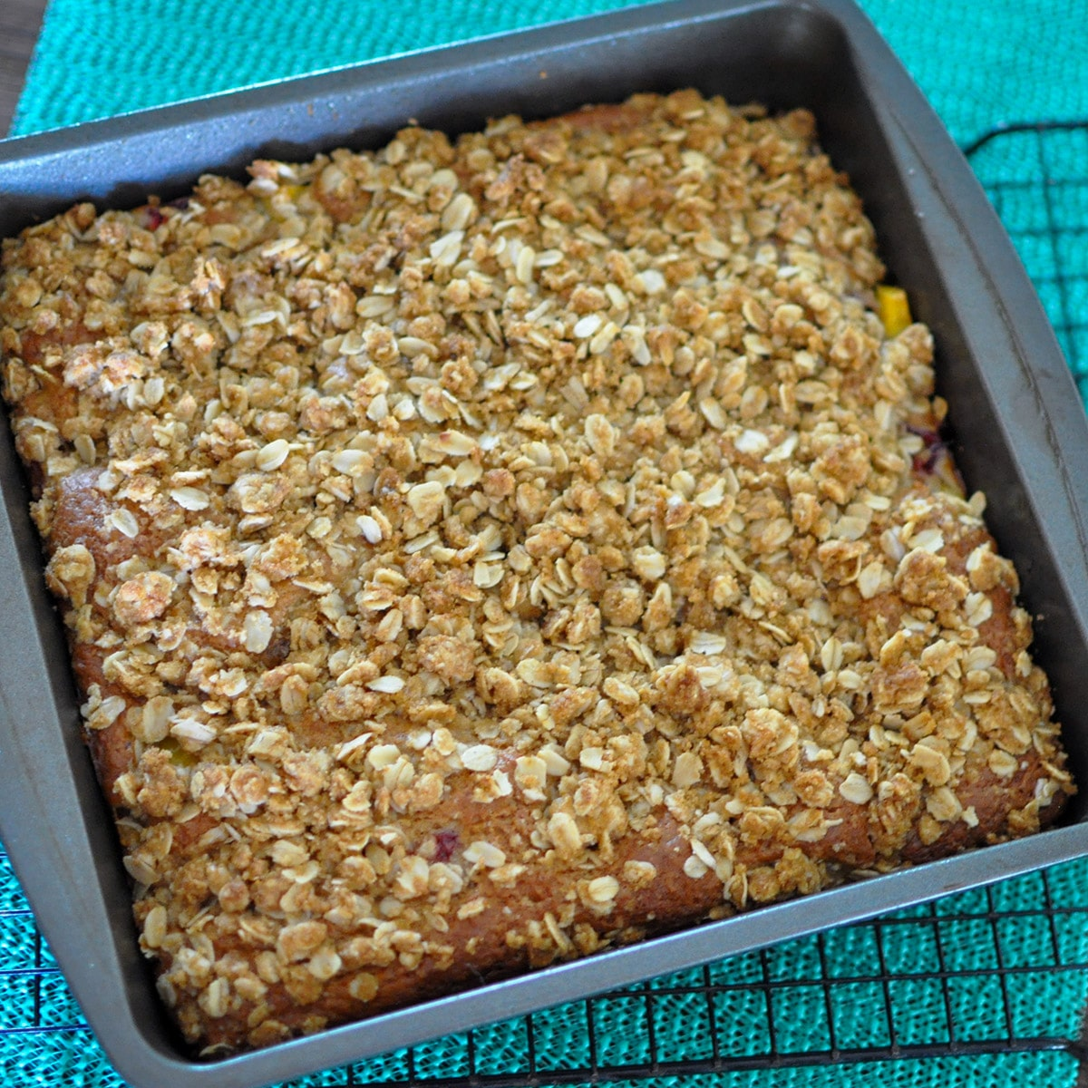 fresh baked coffee cake in a baking pan