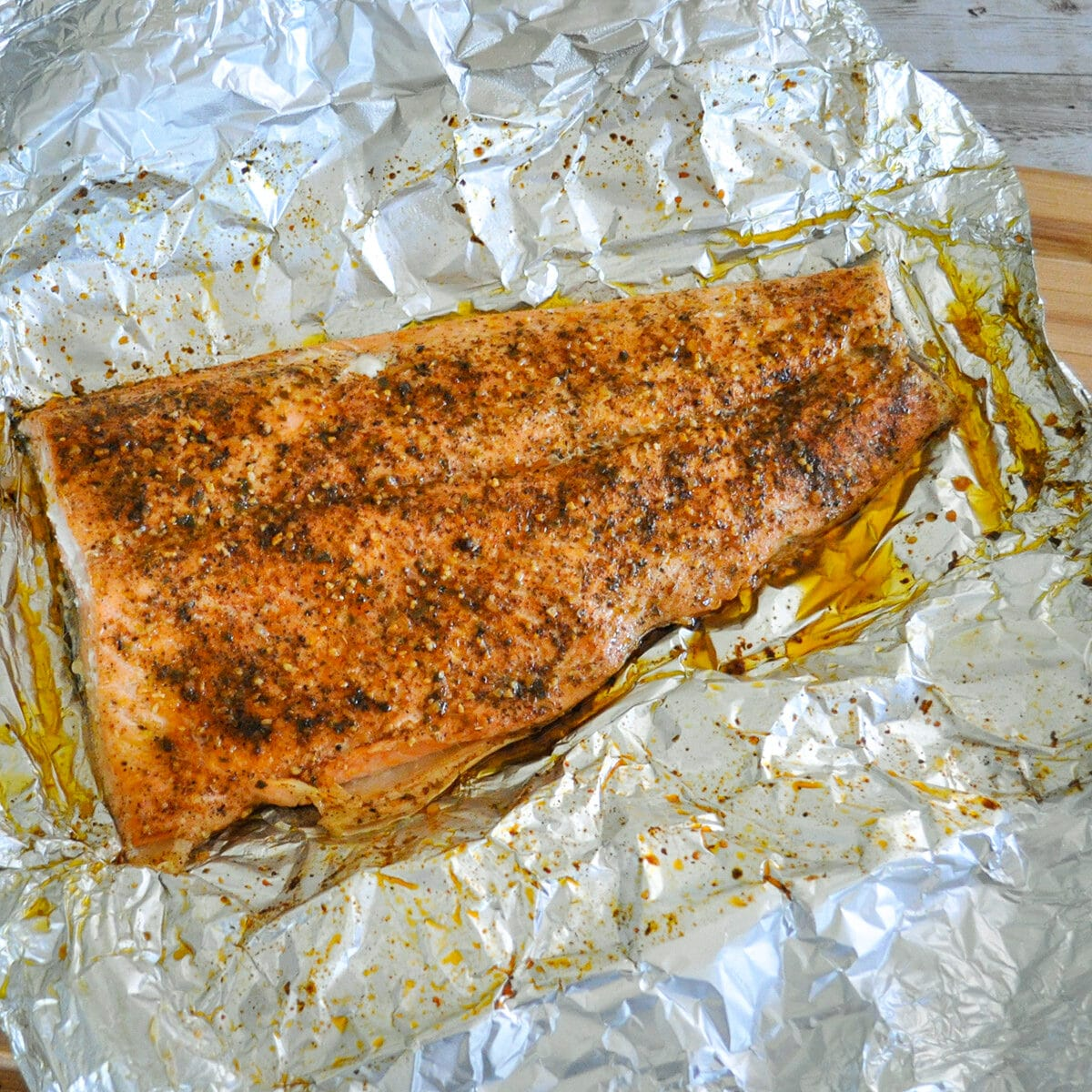 just cooked salmon on foil