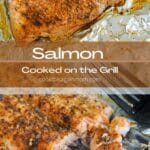 salmon cooked on the grill pinterest graphic