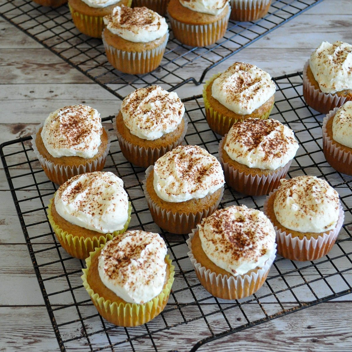 coffee cupcakes with fluffy white frosting topped in cocoa on a black rack