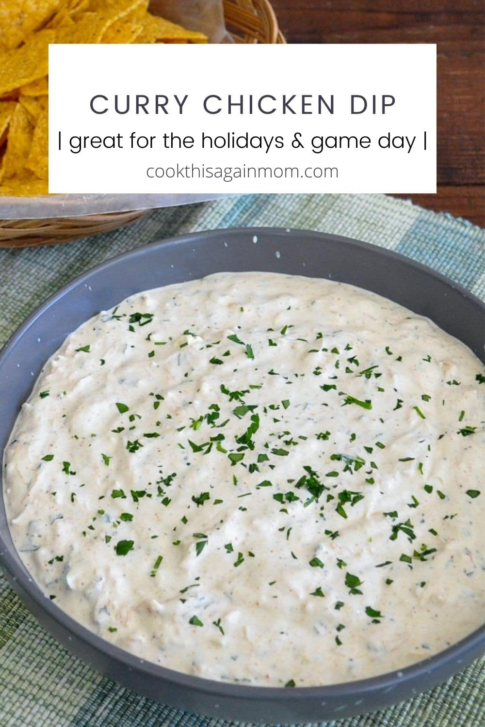 pinterest image for curry chicken dip