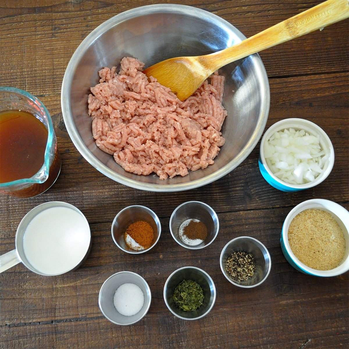raw ground turkey, broth, cream, onion, and spices for meatballs