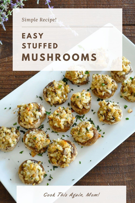 Easy Stuffed Mushrooms pinterest image