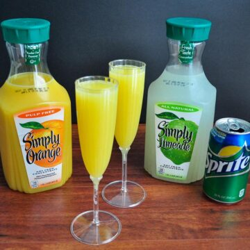 virgin mimosas ingredients orange juice, limeade, and sprite