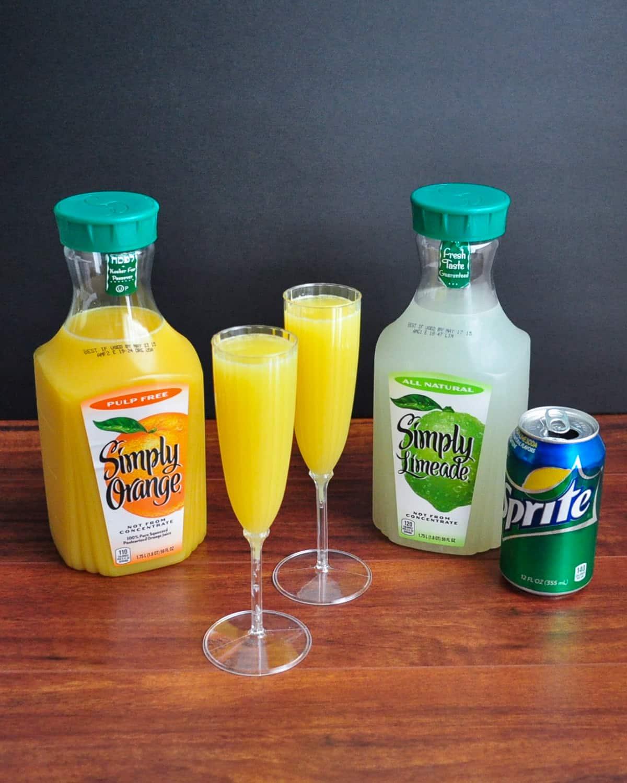 virgin mimosas ingredients orange juice, limeade, and sprite