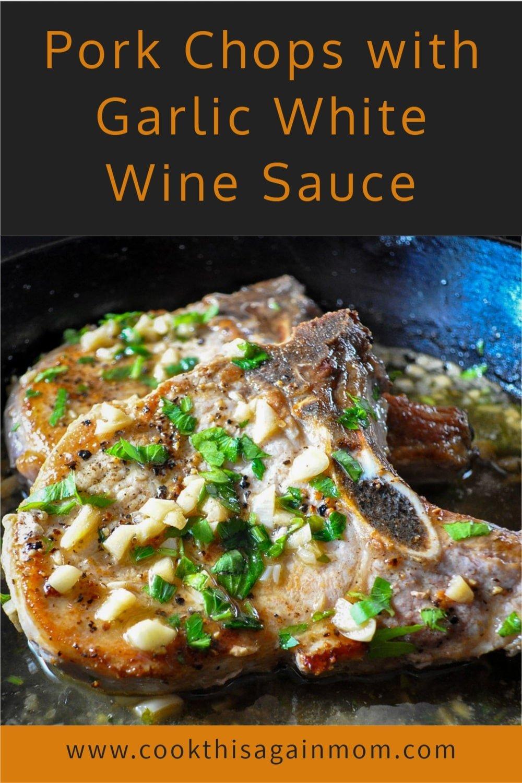 pork chops with garlic sauce pinterest image