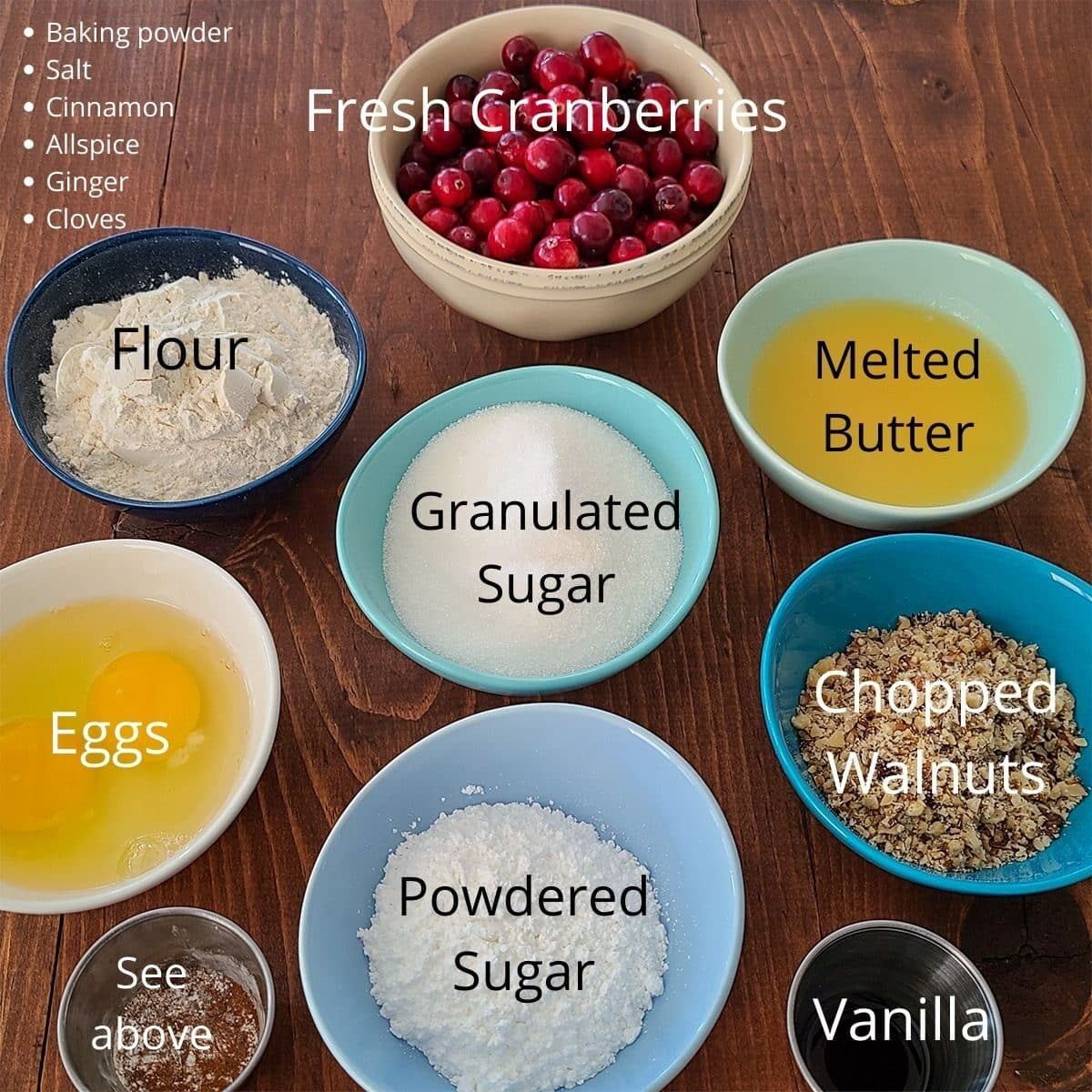 ingredients measured out for cranberry cake